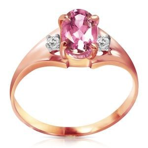 SOLID GOLD RINGS WITH DIAMONDS & PINK TOPAZ